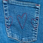 Denim pocket with hearts
