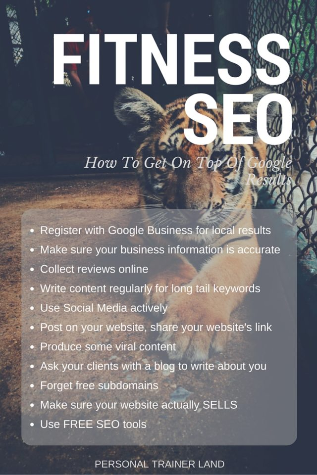 Fitness Seo How To Get On Top Of Google Results Personal Trainer